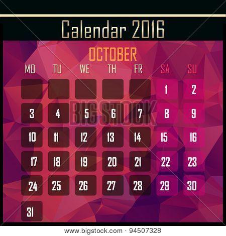 Geometrical Polygonal Triangles 2016 Calendar Design For October Month