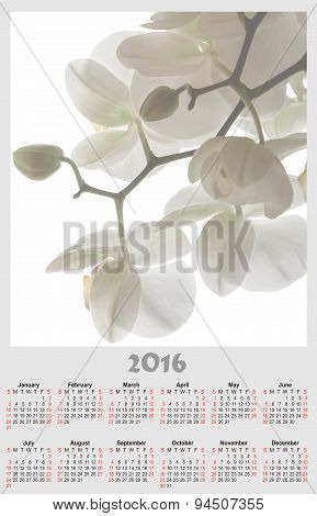 Illustration Calendar For 2016 In Floral Design With White White Orchid
