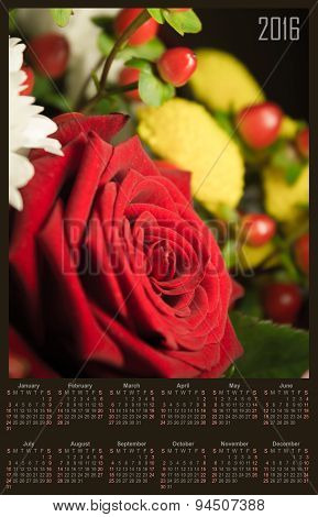 Illustration Calendar For 2016 In Design With Branch Of Red Rose