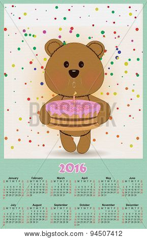 Illustration Calendar For 2016 In Kids Toys Design With Cute Teddy Bear