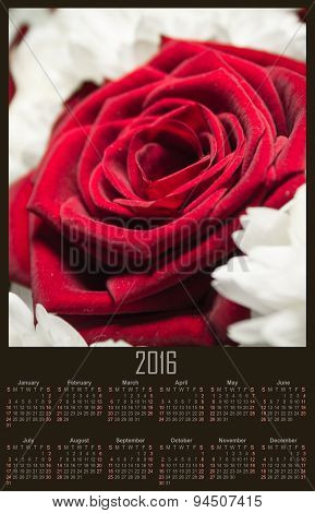 Illustration Calendar For 2016 In Flowers With Branch Of Red Rose