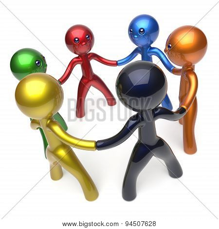 Teamwork Circle People Social Network Individuality Concept