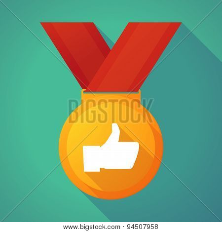 Long Shadow Gold Medal With A Thumb Up Hand