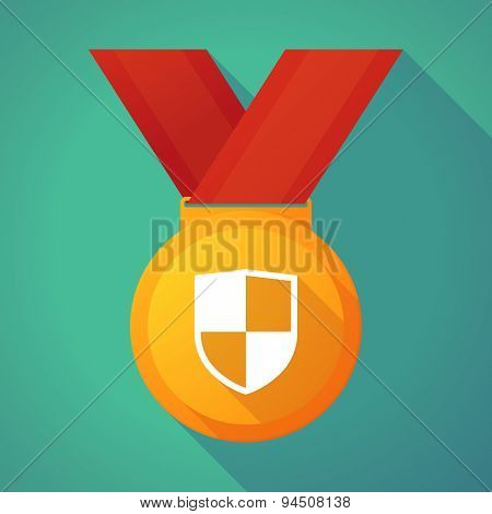 Long Shadow Gold Medal With A Shield
