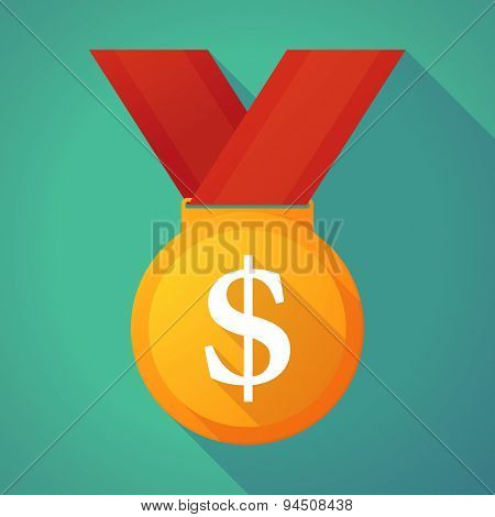 Long Shadow Gold Medal With A Dollar Sign