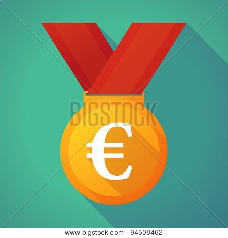 Long Shadow Gold Medal With An Euro Sign