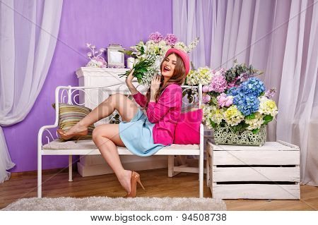 Girl With A Bouquet Of Lilies Of The Valley Laughs