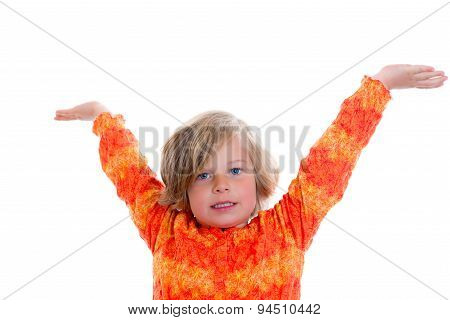 Little Girl With Arms In The Air