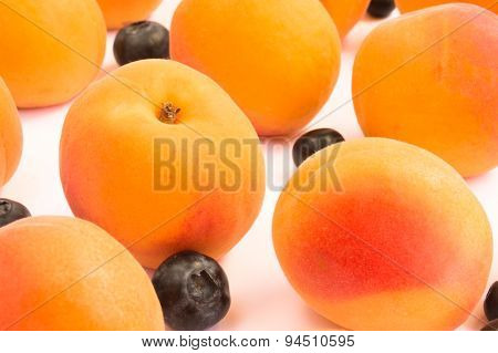 Apricots and Blueberries in Diagonal Pattern - Close up