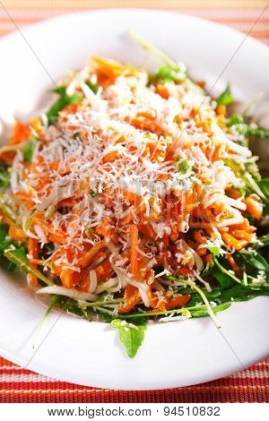 Fresh Salad With Carrots And Cheese