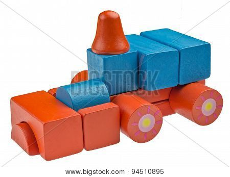 Toy car made from colored wooden blocks