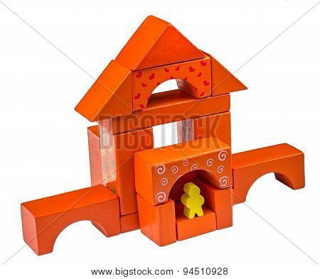 Wooden house made from colored wooden blocks