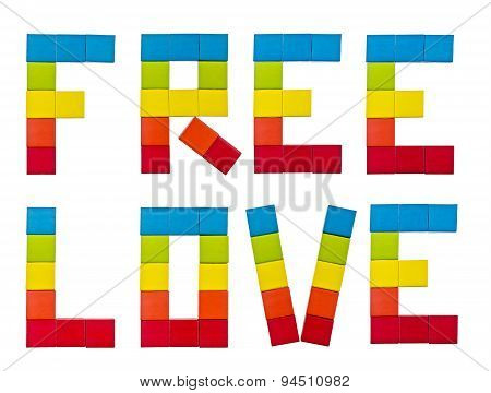Text Free Love in the form rainbow flag