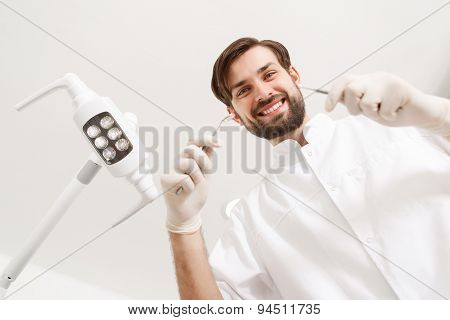Low angle of dentist during his work