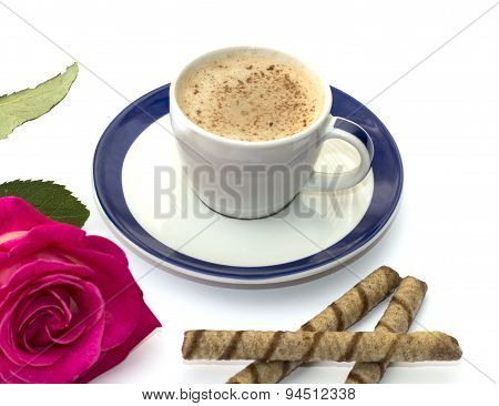 Cappuccino Mug, Cookies And Rose Close Up