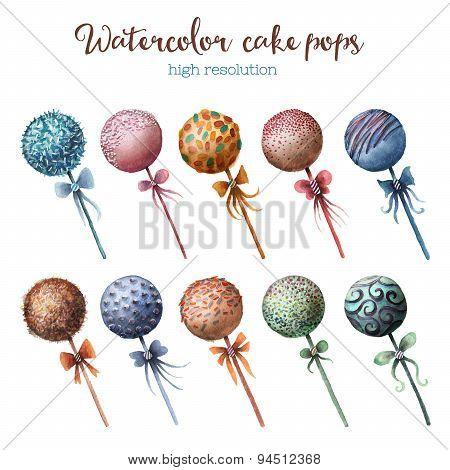 Watercolor cake pops set