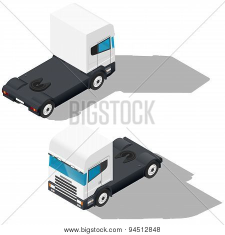Trucks Detailed Isometric Icons Set