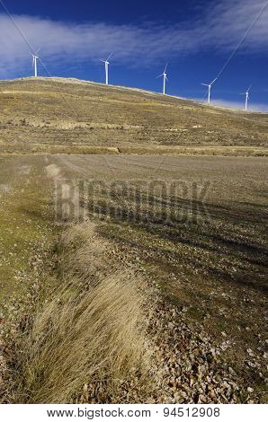 Windmills for renewable electric energy production, Teruel province, Aragon, Spain.