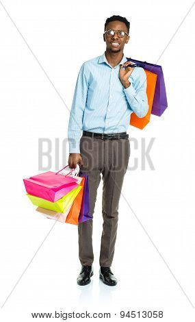 Happy African American Man Holding Shopping Bags On White Background. Shopping