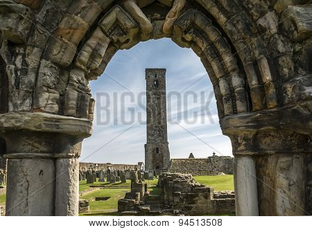 ST ANDREWS, FIFE-APRIL 9: The square tower, St Andrews cathedral, Fife, Scotland