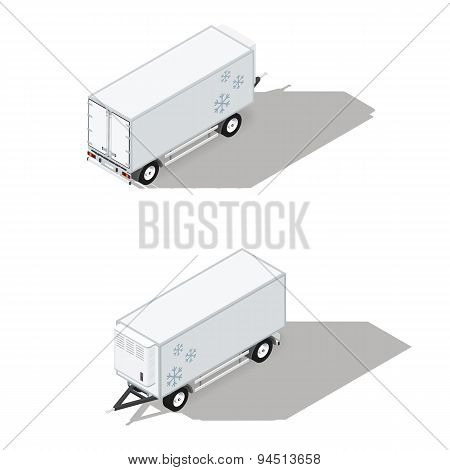 Trailer With A Refrigeration Chamber Detailed Isometric Icons Set