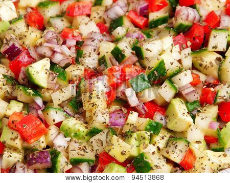 Salad With Tomatos, Cucumbers And Red Peppers