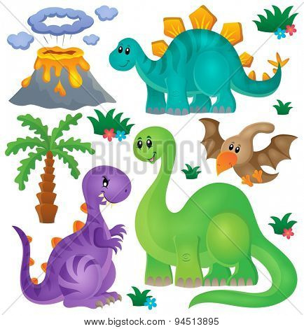 Dinosaur theme set 1 - eps10 vector illustration.