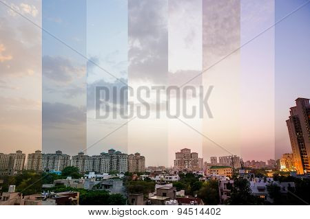 Timeslice Of Buildings In Gurgaon, India