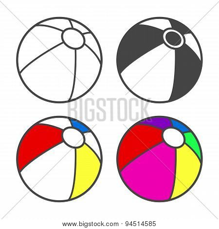 Toy beach ball  for coloring book isolated on white.