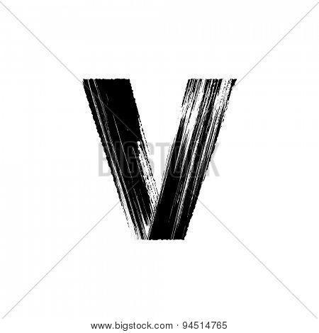 Vector hand paint letter V. Hand drawn letter with dry brush.