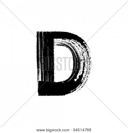 Vector hand paint letter D. Hand drawn letter with dry brush.
