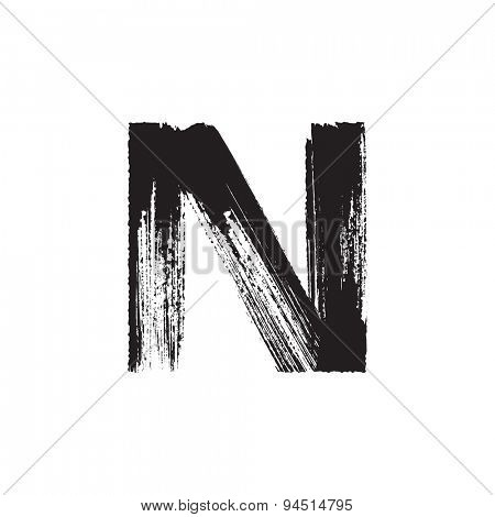 Vector hand paint letter N. Hand drawn letter with dry brush.