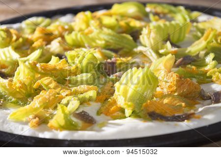 Pizza With Zucchini Flowers