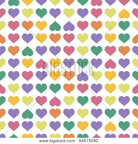 Seamless Background Colorful Hearts