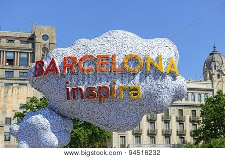 Barcelona Spain welcome sign in the city