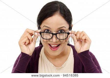 Young Female Optician Showing Eye Glasses