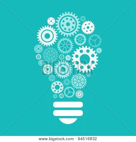 Light Bulb Of Gears And Cogs.