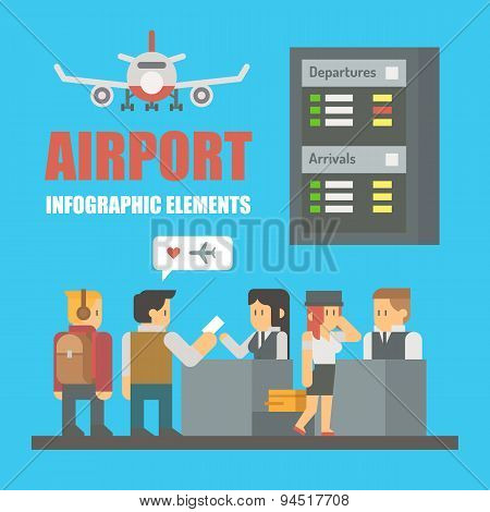 Flat Design Of Airport Infographic Elements