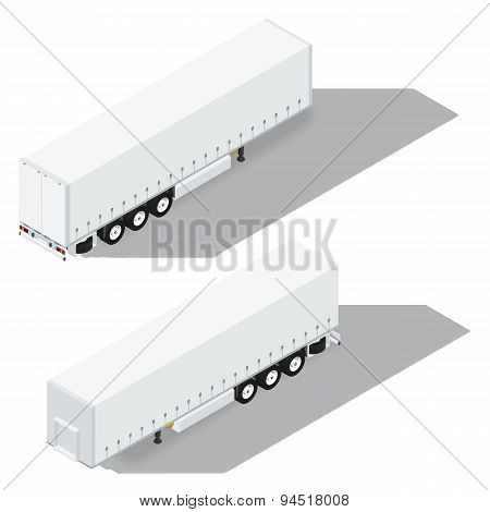 Tarpaulin Semitrailer Isometric Detailed Icon