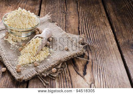 Chick Pea Flour On Dark Rustic Background