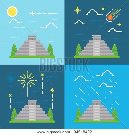 Flat Design 4 Styles Of Chichen Itza Yuacatan Mexico