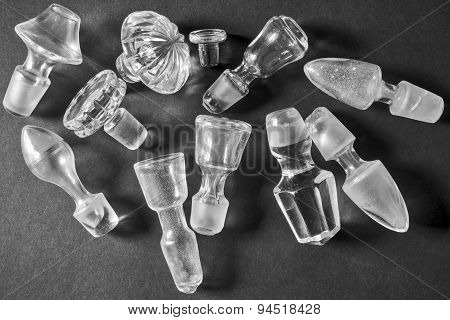 Old glass stoppers, composition in black and white,