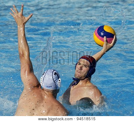 BARCELONA - MAY, 28: Aaron Younger of Vaterpolski klub Jug Dubrovnik during a LEN Champions League Final Six match against ZF Eger at the Picornell Swimming pool on May 28 2015 in Barcelona Spain