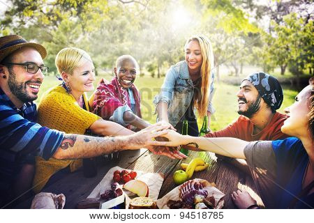 Friends Outdoors Camping Teamwork Unity Concept
