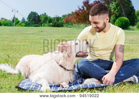 Handsome guy with his dog