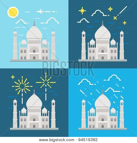 Flat Design 4 Styles Of Taj Mahal India