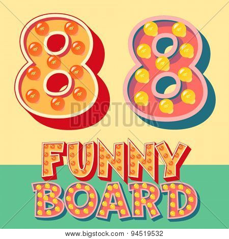 Bright funny comic vector lamp alphabet. Number 8