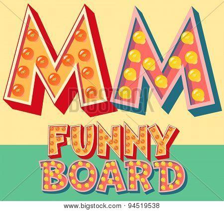 Bright funny comic vector lamp alphabet. Letter M