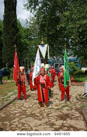 Turkish Traditional Music Band (mehter) Ready For Performance