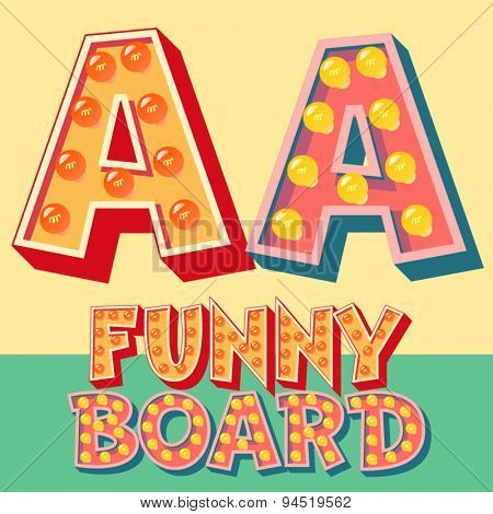 Bright funny comic vector lamp alphabet. Letter A